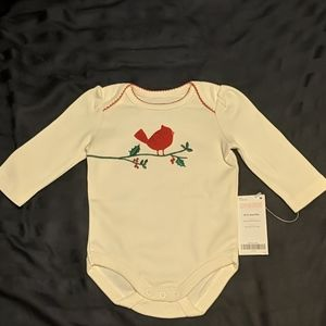 Gymboree onesie 0-3 month old ivory with cardinal